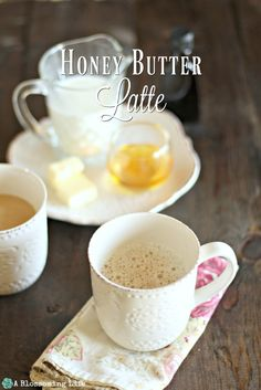 Honey Butter Lattes - This delicious coffee recipe is rich, sweet, and creamy smooth. Morning Drinks, Morning Coffee, Coffee Break, Coffee Latte, Honey Coffee, Iced Coffee, Coffee Shop, Whole Food Recipes, Cooking Recipes