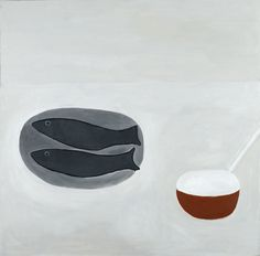 William Scott, Double Grey Fish Still Life, 1982, Oil on canvas, 101.6 × 101.6 cm / 40 × 40 in, Private collection