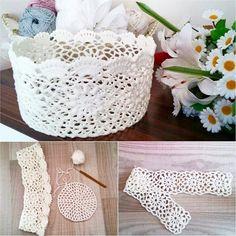 Crochet basket Crochet Doily Patterns, Crochet Motif, Crochet Doilies, Crochet Flowers, Crochet Bowl, Crochet Art, Thread Crochet, Crochet Christmas Decorations, Crochet Decoration