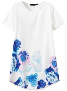 Short+Sleeve+Flower+Print+Shift+Dress+US$13.33
