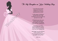 A4 Poem From Mum to Daughter on Her Wedding Day - Mother to Daughter Gift