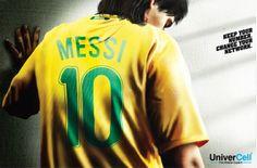 Campanha de companhia telefônica indiana com Messi vestindo a camiseta do Brasil...