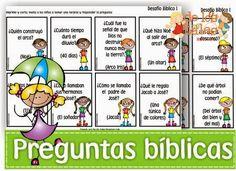 Estas son algunas tarjetas con preguntas bíblicas que hice para jugar con los niños. Puedes descargar los archivos gratis aqu...