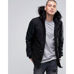 Brave Soul Faux Leather Arm Faux Fur Hooded Parka ($88) ❤ liked on Polyvore featuring men's fashion, men's clothing, men's outerwear, men's coats, black, mens hooded coats, tall mens coats and mens parka coats