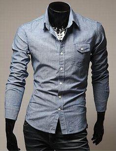 Long sleeve chambray men's shirt
