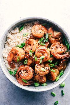 Sticky sesame and garlic shrimp - recipes-Klebrige Sesam-Knoblauch-Garnele – Rezepte de Sticky sesame and garlic shrimp – recipes - Baked Shrimp Recipes, Fish Recipes, Seafood Recipes, Asian Recipes, Cooking Recipes, Healthy Recipes, Garlic Recipes, Healthy Meals, Clean Dinners