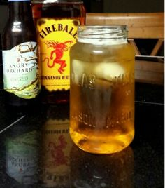 Good fall drink. Fireball whiskey + angry orchard.