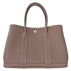 790e4f3aa39f Hermes Etoupe TPM Leather Garden Party Tres Petite Modele Tote Bag 30cm  Rare