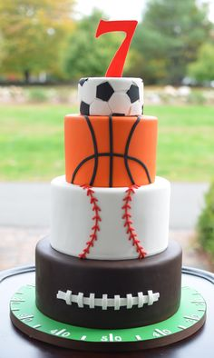 Wonderful Image of Sports Birthday Cakes . Sports Birthday Cakes All Star Sports Themed Birthday Cake But A Dream Custom Cakes Sports Birthday Cakes, Sports Themed Cakes, Sports Themed Birthday Party, Themed Birthday Cakes, Boy Birthday Parties, Birthday Cupcakes, Birthday Boys, Sports Party, 10th Birthday