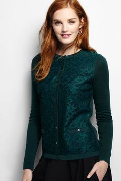 Women's Supima Lace Pocket Cardigan Sweater from Lands' End
