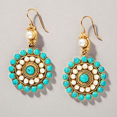 Turquoise Pearl Heirloom Earrings   World Market