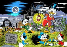 "micelangelooo: "" The old castles many secrets Uncle Scrooge and his nephews are back on old castle McDuck in this drawing based on three different stories: ""Hound of the Whiskervilles"" and ""The Old Castle's Secret"" by Carl Barks, and Don Rosa's ""A..."