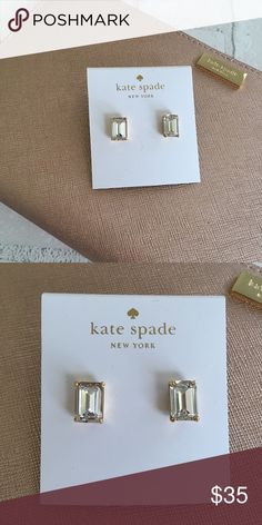 "Kate Spade Emerald Cut Gumdrop Earrings in Crystal Kate Spade Stud earrings  Emerald-cut epoxy crystals. 12-karat yellow gold plate. Post backs for pierced ears. 1/2""L x 1/4""W. No Trades Price is Firm Unless Bundled  2 items 10% Off 3 items 20% Off kate spade Jewelry Earrings"