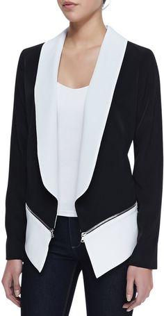 Chalk Zipper Detail Pony Blazer, Black/White