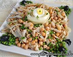 Receita de Salada de Grão de Bico Salad Recipes, Diet Recipes, Cooking Recipes, Healthy Recipes, Brazilian Dishes, Cod Fish Recipes, Confort Food, Food C, Portuguese Recipes