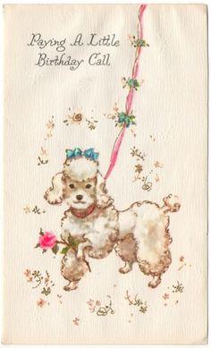 Vintage Greeting Card White Poodle