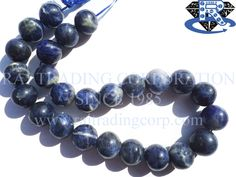 Sodalite Smooth Round (Quality C) Shape: Round Smooth Length: 36 cm Weight Approx: 82 to 91 Grms. Size Approx: 14 to 16 mm Price $14.56 Each Strand