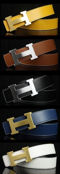Hermes 12 Colors 'H' Pattern Leather Belt for Men & by iLuxuries, $39.00