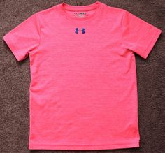UNDER ARMOUR Heat Gear Loose Fit Short Sleeve Shirt Pink Girls Youth Medium YMD #UnderArmour #Everyday