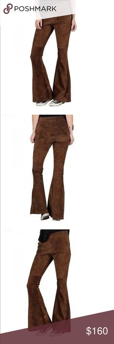 """VOLCOM Stone Row Suede Vintage Brown Bell Pant This 100% Suede vintage brown flare pant hails form Volcom's high end collection, Stone Row. The flattering high waisted Persuede Me Pants are crafted with a stretch suede fabric and features a bell-bottom lower leg. Includes seaming at lower leg and zippers at both sides of waistband. 33"""" inseam, 14"""" bell bottom opening. Extremely rare! Stock pictures show fit and styling of pants. Volcom Pants Boot Cut & Flare"""