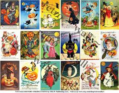 Halloween Card Tags Vintage Halloween Black Cats by retrowallart