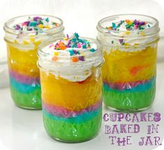 Make these rainbow cupcakes in a jar at your next party. (via Running With Glitter)