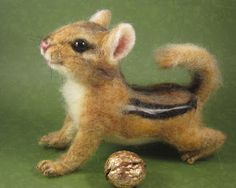 Needle-felted animal by Robin Joy Andreae, Hickory is a chipmunk about five inches long. #chipmunk #needlefelting