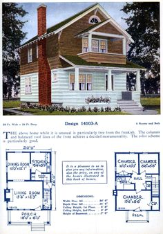 American home designs - Vintage house plans Home Design Floor Plans, House Floor Plans, Style At Home, American Home Design, Carriage Style Garage Doors, Green Siding, Vintage House Plans, Vintage Homes, Cottages And Bungalows