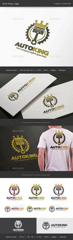 Auto King Piston  - Logo Design Template Vector #logotype Download it here: http://graphicriver.net/item/auto-king-piston-logo/9454454?s_rank=995?ref=nesto