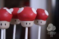 super mario 1-up mushroom cake pops