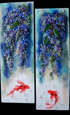Fused Glass Wisteria and Koi Panels