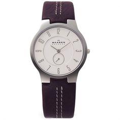 Skagen Mens White Dial Brown Leather Strap Watch 433LSL1