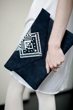 Envelope Bag Geometrical Illusion Leather Suede Navy Blue with White via CORIUMI Etsy.