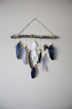 Feather Wall Hanging-Driftwood Wall Hanging-Boy Nursery Decor-Navy Grey Nursery-Eclectic Home Decor-Woodland Nursery-Baby Boy Gift - feather wall decor for boys tribal or woodland nursery - Nursery Wall Decor, Baby Decor, Nursery Crafts, Nursery Room, Baby Boy Gifts, Gifts For Boys, Grey And Navy Nursery, Feather Wall Decor, Feather Decorations