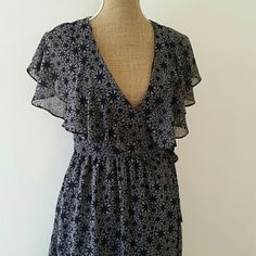 """Love 21 Print Ruffle Wrap Tie Waist Dress Beautiful,  romantic dress by Love 21. Size small.  Sleeveless with ruffle collar.  Fully lined.  Ties at waist.  ***note: one tie has come loose and one side see last photo..can be easily resewn***    33.5"""" long Love 21 Dresses"""