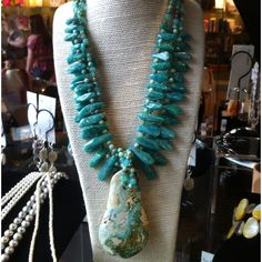 Turquoise pendant with Russian Amazonite. Available at Gallery 221, Little Rock, AR.