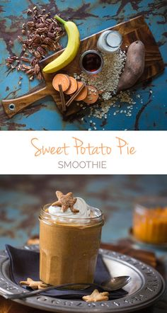 Sweet Potato Pie Smoothie - This healthy thick 'n rich smoothie recipe tastes just like fall. Plus sweet potatoes are SUPER healthy.