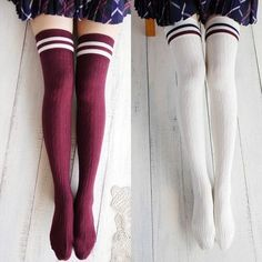 College Wind Women Fashion Hot Thigh High Socks Sexy Warm Cotton Over The Knee Socks Striped Long Stockings For Girls Wholesale Dame, Striped Thigh High Socks, Striped Tights, Outfit Invierno, Moda Paris, Ladies Dress Design, Thigh Highs, Nylons, Ideias Fashion
