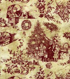 Holiday Inspirations-Toile Santa Fabric, , hi-res