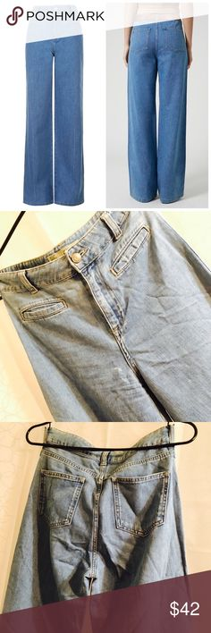TOPSHOP MOTO High Rise Wide Leg Jeans MOTO high-rise, '70s style wide flared leg jeans crafted from soft, lightweight denim with pockets. 100% Cotton. Machine wash. Size 25. Excellent Condition Topshop Jeans Flare & Wide Leg