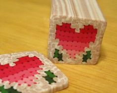 Polymer clay quilt: Miniature Fimo Valentine's Day Quilt - cross stitch cane