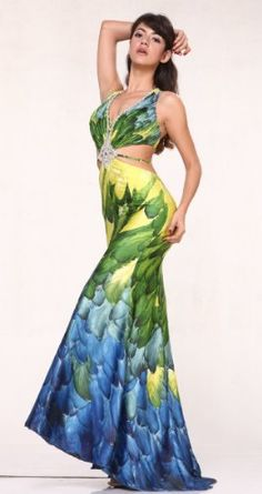 #1605 Sexy Cutaway Print Halter Satin Pageant « Dress Adds Everyday