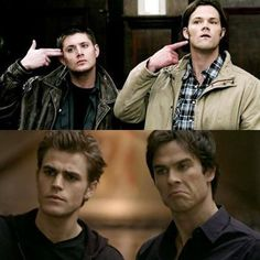 Brother team vs. brother team - man, this would be an epic showdown!  Dean & Sam Winchester vs. Stefan & Damon Salvatore (Vampire Diaries)