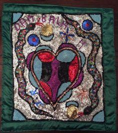 Voodoo Vodou Sequined Beaded Flag DAMBALA SERPENT Heart Authentic Haitian Art