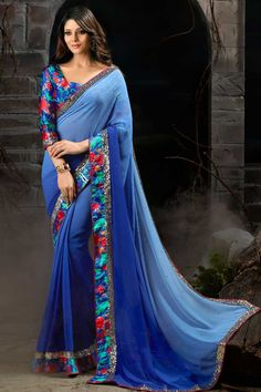 Blue Georgette Saree with Santoon Blouse price: Rs 1,990.00 Blue georgette saree with blue santoon blouse.  Embellished with stone and sequins.  Saree comes with u neck blouse.  It is perfect for casual wear, festival wear, party wear and wedding wear. http://www.topkart.in/blue-georgette-saree-with-santoon-blouse-dmv8162.html