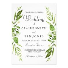 Modern Rustic leaf elegant Wedding Invitation - spring wedding diy marriage customize personalize couple idea individuel