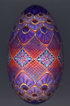 These eggs are by Mark E Malachowski. The patterns, color and detail are wonderful!