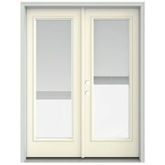 JELD-WEN 60 in. x 80 in. French Vanilla Prehung Right-Hand Inswing French Patio Door with Brickmould and Blinds