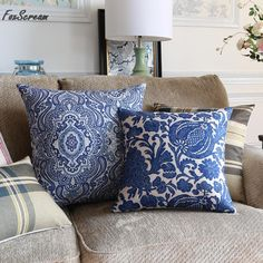 Blue flower neoclassical Cushions Geometric Home Decor Chinese style Cushions For Sofa Chair Cushion decorative throw pillows #Affiliate