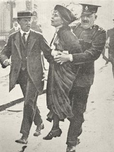 Emmeline Pankhurst, who had founded the Women's Social & Political Union, being arrested as a Suffragette